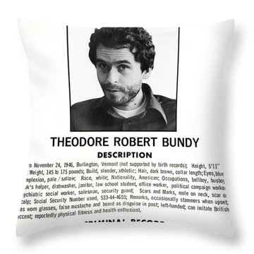 Serial Killer Ted Bundy Throw Pillow