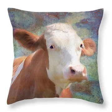 Throw Pillow featuring the mixed media Serious Business by Colleen Taylor