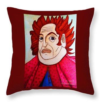 Throw Pillow featuring the painting Serious Cardinal by Don Pedro De Gracia