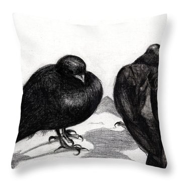 Serious Pigeon Situation Throw Pillow by Nancy Moniz