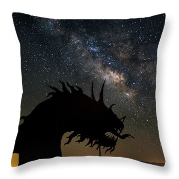 Serpent And Milky Way Throw Pillow by Scott Cunningham