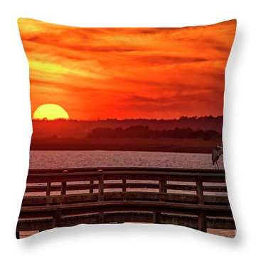 Throw Pillow featuring the photograph Setting On The Heron by DJA Images