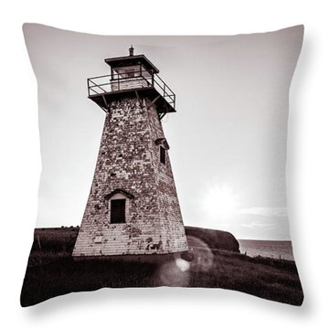 Throw Pillow featuring the photograph Setting Sun At Cape Tryon Lighthouse by Chris Bordeleau