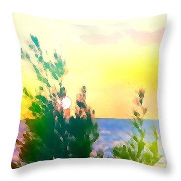 Pastel Colors On The Atlantic Ocean In Cancun Throw Pillow