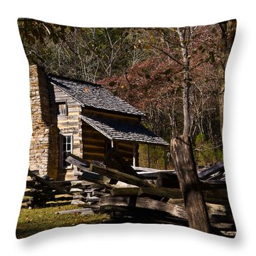 Settlers Cabin Cades Cove Throw Pillow