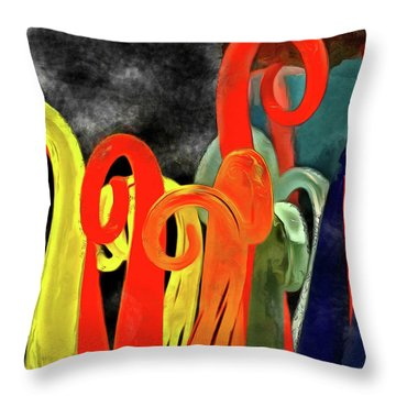 Throw Pillow featuring the mixed media Seuss' Canes by Trish Tritz