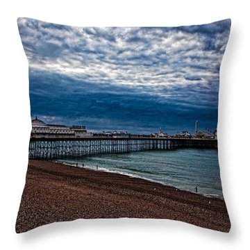 Seven Am On Brighton Seafront Throw Pillow