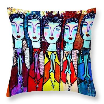 Seven Blue Spanish Angels Throw Pillow