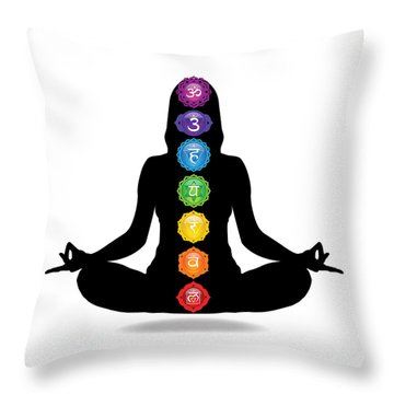 Seven Chakra Illustration With Woman Silhouette Throw Pillow