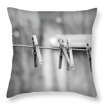 Seven Clothes Pins Throw Pillow