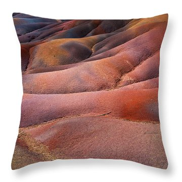 Seven Colored Earth In Chamarel 8. Series Earth Bodyscapes. Mauritius Throw Pillow