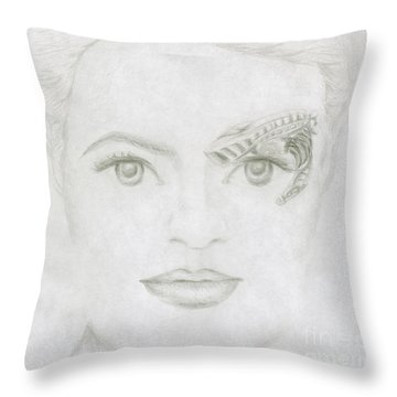 Throw Pillow featuring the drawing Seven by Kim Sy Ok