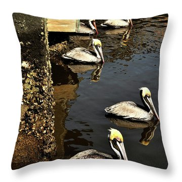 Seven Pelicans Throw Pillow