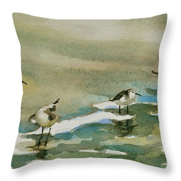 Seven Sandpipers At The Seashore  Throw Pillow