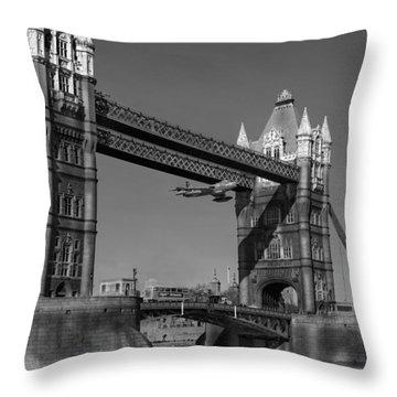 Seven Seconds - The Tower Bridge Hawker Hunter Incident Bw Versio Throw Pillow