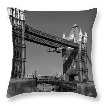 Seven Seconds - The Tower Bridge Hawker Hunter Incident Bw Versio Throw Pillow