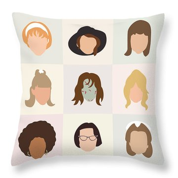 Seventies Movie Chicks Throw Pillow