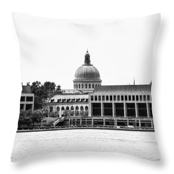 Severn River View Of United States Naval Academy Throw Pillow by Brendan Reals