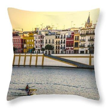 Seville - Sunset In Calle Betis Throw Pillow