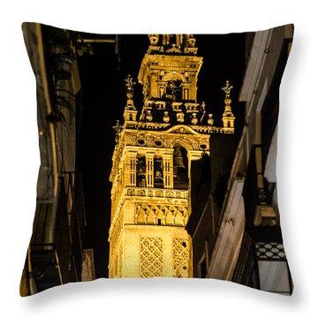 Seville - The Giralda At Night  Throw Pillow