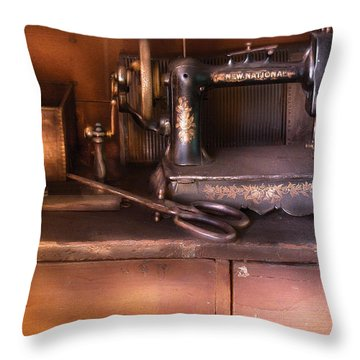 Sewing - New National Sewing Machine  Throw Pillow by Mike Savad