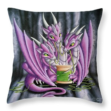 Sewing Dragons Throw Pillow