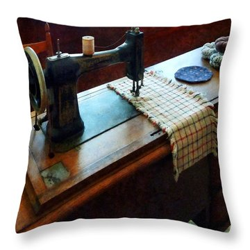 Sewing Machine And Pincushions Throw Pillow by Susan Savad