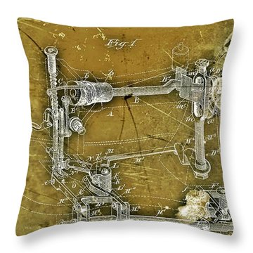 Sewing Machine Patent Throw Pillow