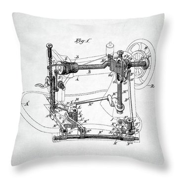 Throw Pillow featuring the digital art Sewing Machine Patent by Taylan Apukovska