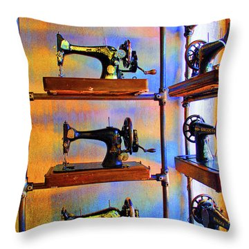 Sewing Machine Retirement Throw Pillow by Jost Houk
