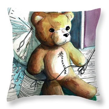 Sewn Up Teddy Bear Throw Pillow