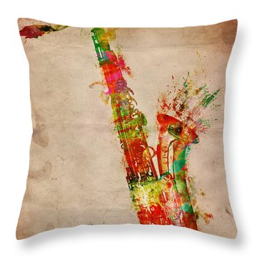 Sexy Saxaphone Throw Pillow by Nikki Smith