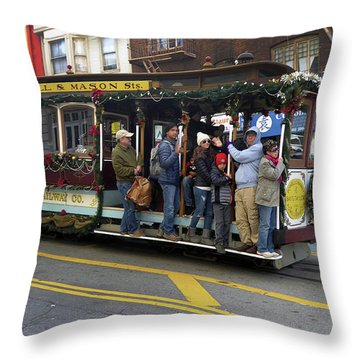 Sf Cable Car Powell And Mason Sts Throw Pillow by Steven Spak