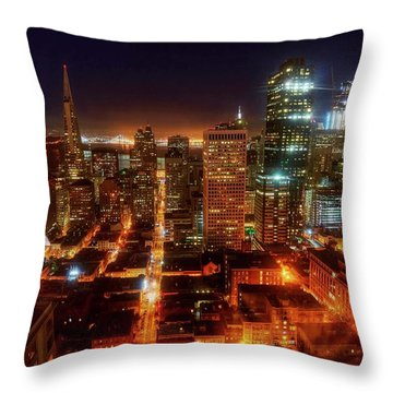Throw Pillow featuring the photograph Sf Gotham City by Peter Thoeny