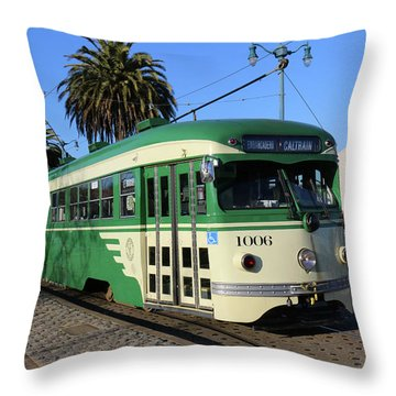 Sf Muni Railway Trolley Number 1006 Throw Pillow by Steven Spak