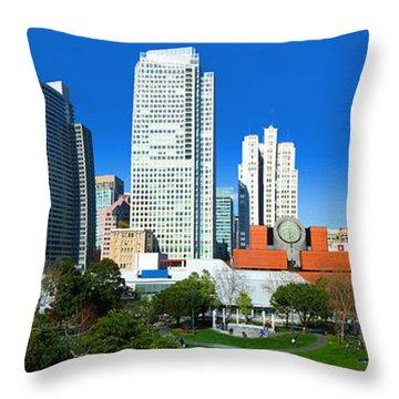 Sfmoma And Yerba Buena Gardens Panorama Throw Pillow by Wernher Krutein