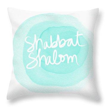 Shabbat Shalom Sky Blue Drop- Art By Linda Woods Throw Pillow