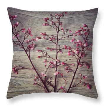 Shabby Chic Coral Bell Flowers Throw Pillow