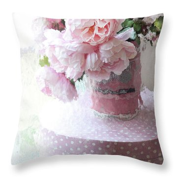 Shabby Chic Cottage Garden Pink Impressionistic Peonies - Romantic Pink Peonies Vintage Sugar Bucket Throw Pillow
