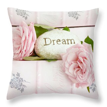 Shabby Chic Cottage Pink Roses On Pink Books - Romantic Inspirational Dream Roses  Throw Pillow