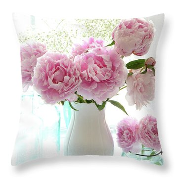 Shabby Chic Cottage Romantic Pink White Peonies In Window - Romantic Peonies Decor  Throw Pillow