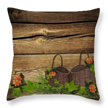 Shabby Chic Flowers In Rustic Basket Throw Pillow