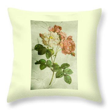 Shabby Chic Pink And White Peonies Throw Pillow
