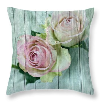 Shabby Chic Pink Roses On Blue Wood Throw Pillow