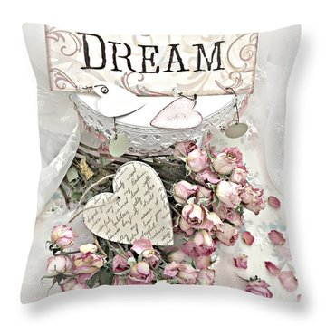 Throw Pillow featuring the photograph Shabby Chic Romantic Dream Valentine Roses - Romantic Dreamy Roses Valentine Hearts by Kathy Fornal