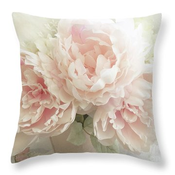 Throw Pillow featuring the photograph Shabby Chic Romantic Pastel Pink Peonies Floral Art - Pastel Peonies Home Decor by Kathy Fornal