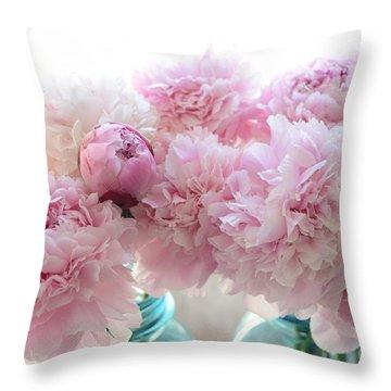 Shabby Chic Romantic Pink Peonies In Aqua Mason Jars - Shabby Cottage Aqua Pink Paris Peonies Throw Pillow