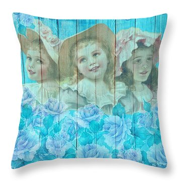 Shabby Chic Vintage Little Girls And Roses On Wood Throw Pillow