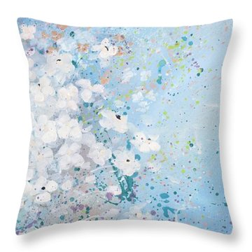 Throw Pillow featuring the painting Shabby Nine by Laura Lee Zanghetti