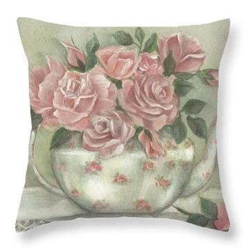 Shabby Teapot Rose Painting Throw Pillow